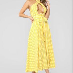 Fashion nova yellow striped midi dress